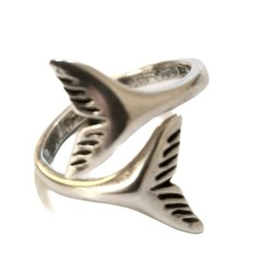 925 Sterling Silver Whale Tail Adjustable Ring
